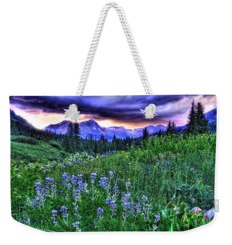 Colorado Weekender Tote Bag featuring the photograph Purple Skies And Wildflowers by Scott Mahon