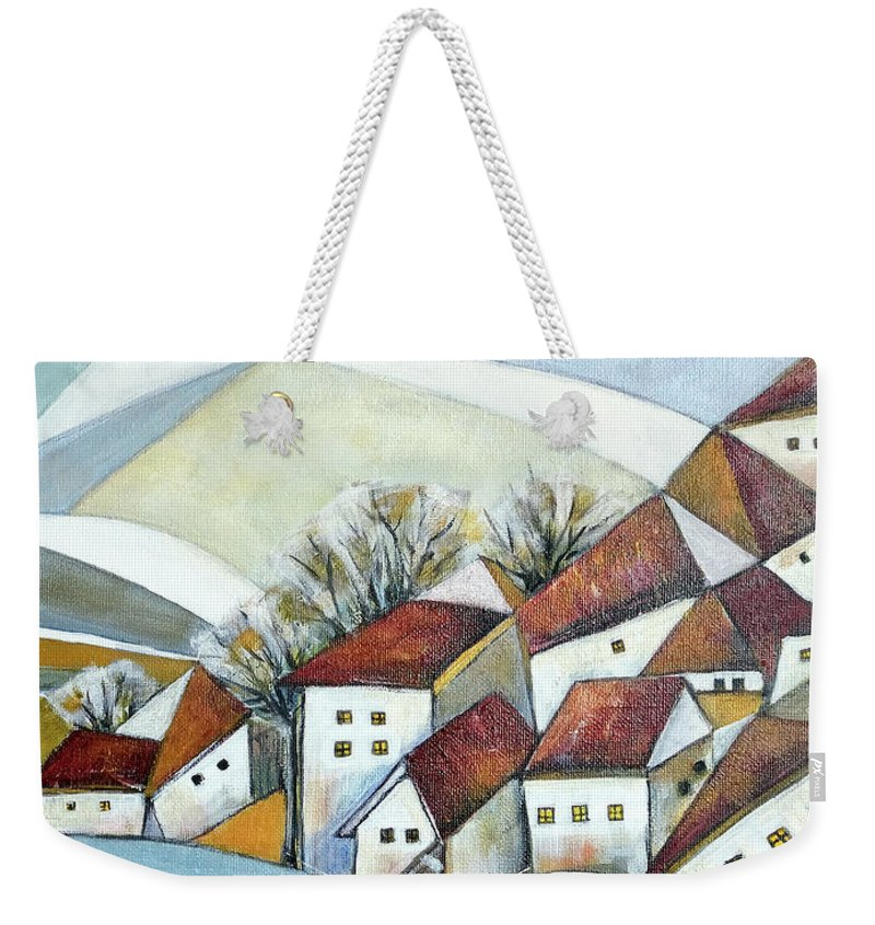 Abstract Weekender Tote Bag featuring the painting Quiet Village by Aniko Hencz