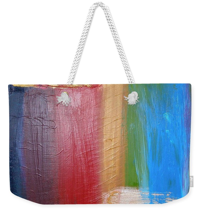 Rainbow Weekender Tote Bag featuring the painting Radiance by Maria Bonnier-Perez