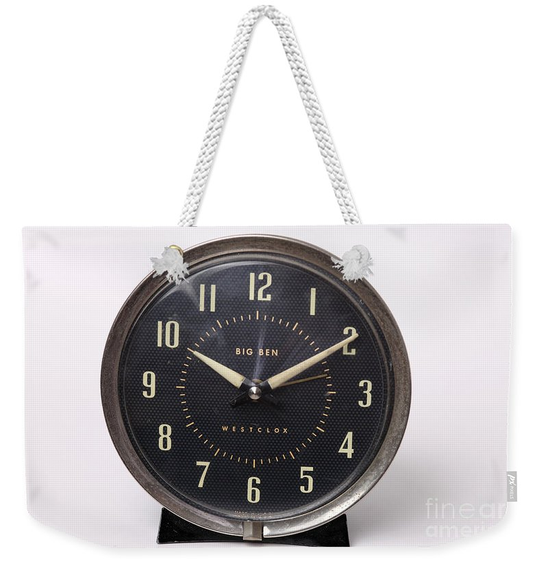 Radium Weekender Tote Bag featuring the photograph Radium Dial On Clock by Ted Kinsman