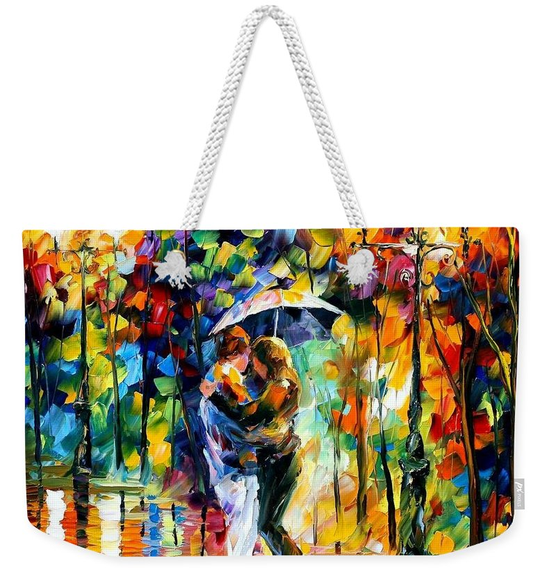 Afremov Weekender Tote Bag featuring the painting Rainy Dance by Leonid Afremov