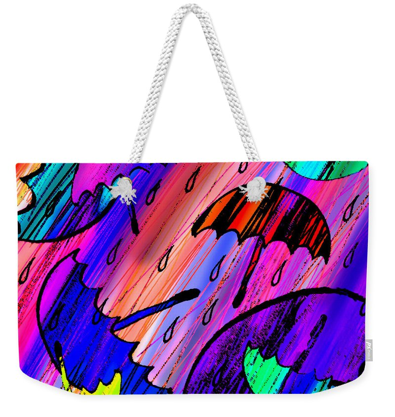 Abstract Weekender Tote Bag featuring the digital art Rainy Day Love by Rachel Christine Nowicki