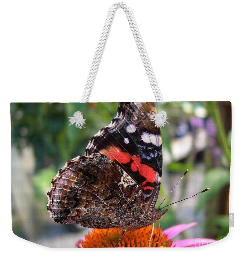 Red Weekender Tote Bag featuring the photograph Red Admiral Butterfly by Joanne Young