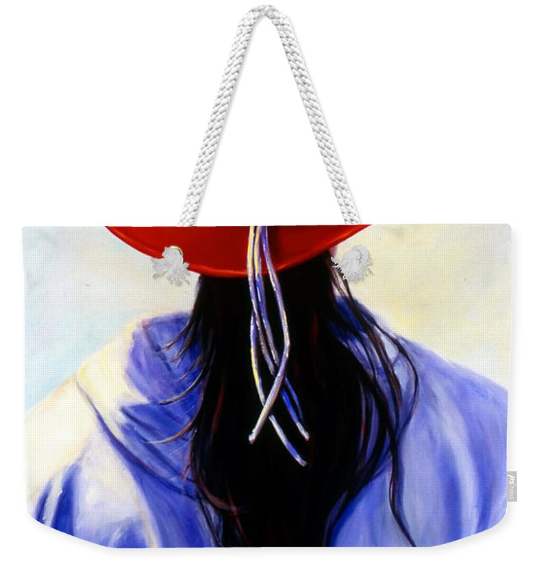 Red Weekender Tote Bag featuring the painting Red Ahead by Shannon Grissom