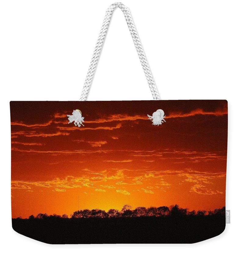 Red Sky Weekender Tote Bag featuring the photograph Red Arkansas by J R Seymour
