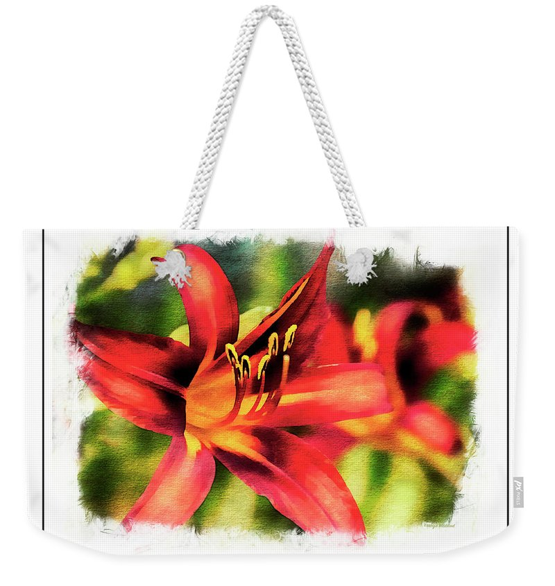 Daylily Weekender Tote Bag featuring the photograph Red Daylily by Margie Wildblood