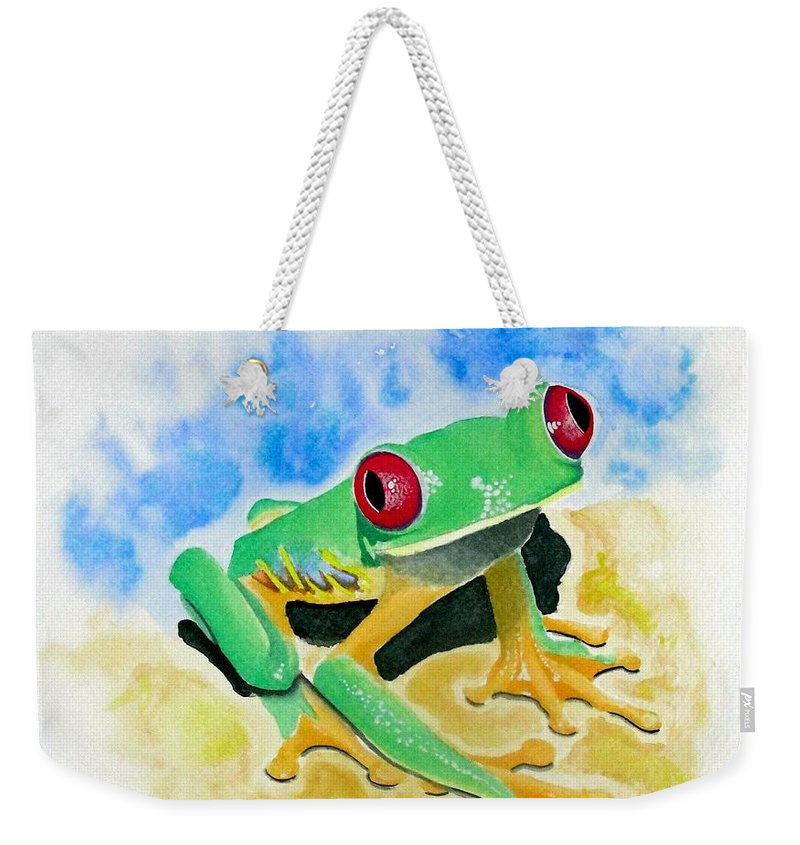 Amphibian Weekender Tote Bag featuring the painting Red Eyed Tree Frog by Jimmy Smith
