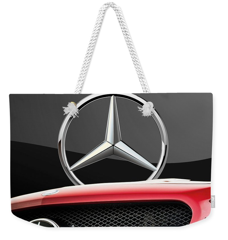 'auto Badges' By Serge Averbukh Weekender Tote Bag featuring the photograph Red Mercedes - Front Grill Ornament and 3 D Badge on Black by Serge Averbukh