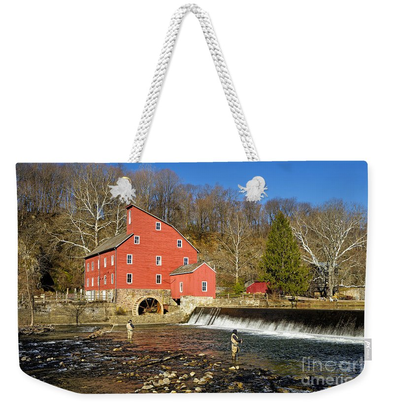 Mill Weekender Tote Bag featuring the photograph Red Mill by Paul Fell