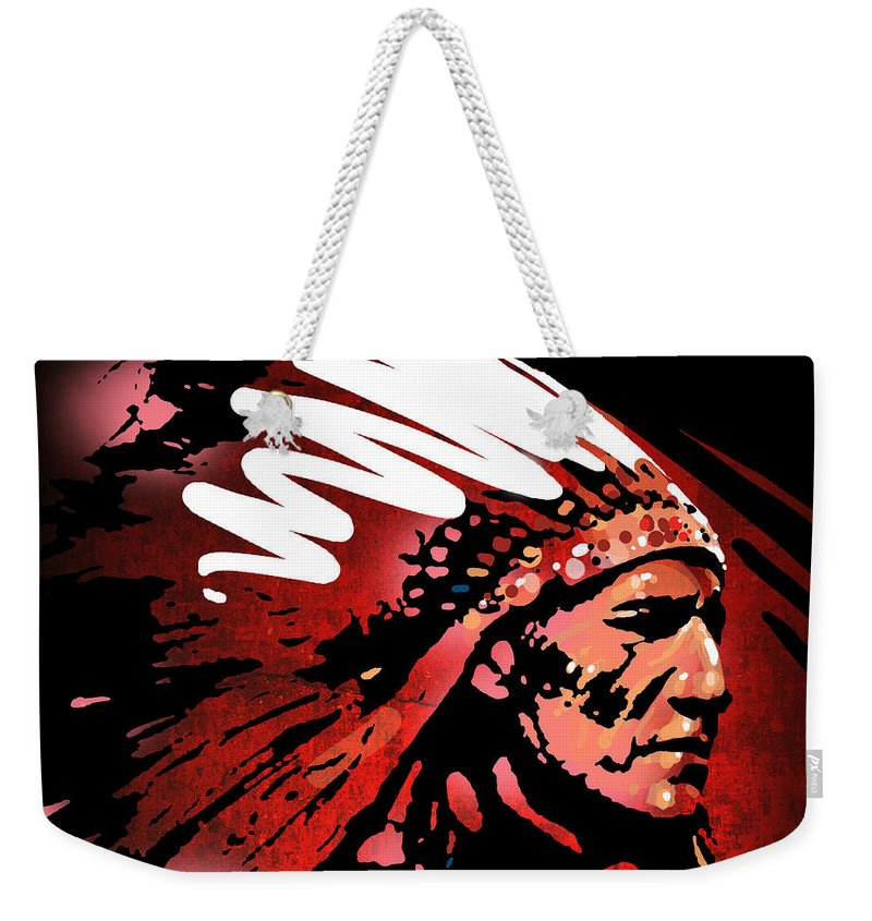 Native American Weekender Tote Bag featuring the painting Red Pipe by Paul Sachtleben