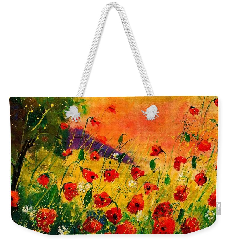 Flowers Weekender Tote Bag featuring the painting Red Poppies 451 by Pol Ledent