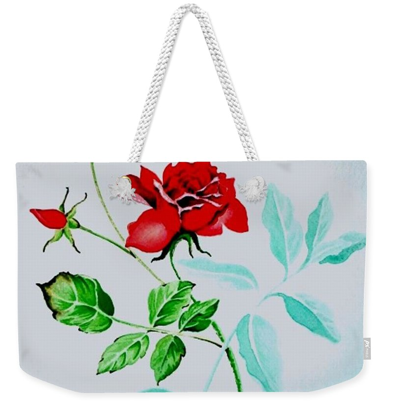 Roses Weekender Tote Bag featuring the painting Red Roses by Jimmy Smith