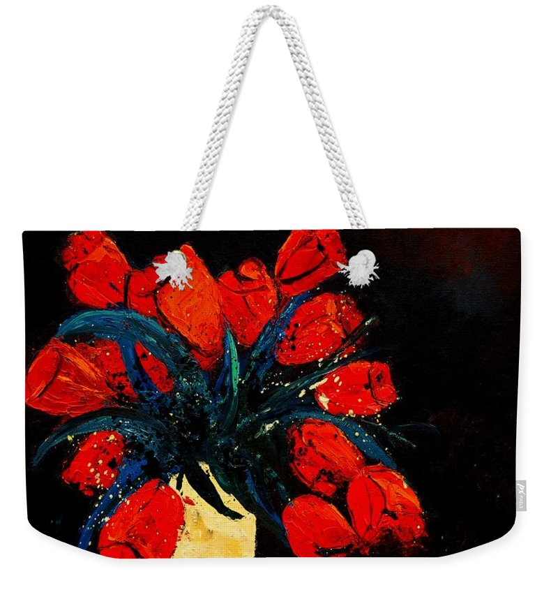 Flowers Weekender Tote Bag featuring the painting Red Tulips by Pol Ledent