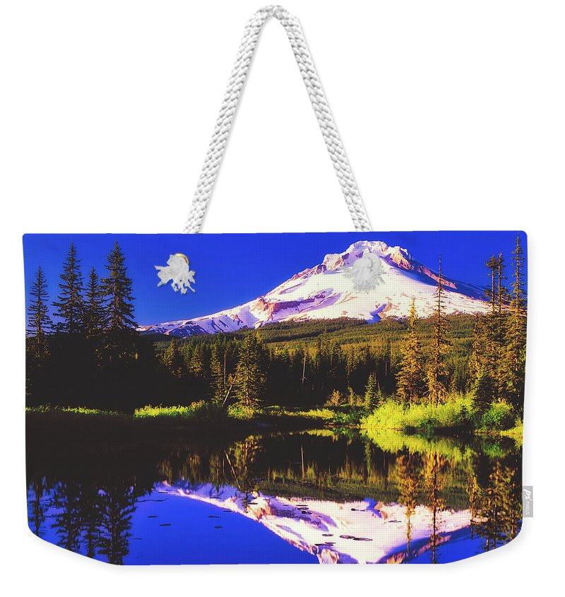 Mount Hood Weekender Tote Bag featuring the photograph Reflections Of Mount Hood by D O T
