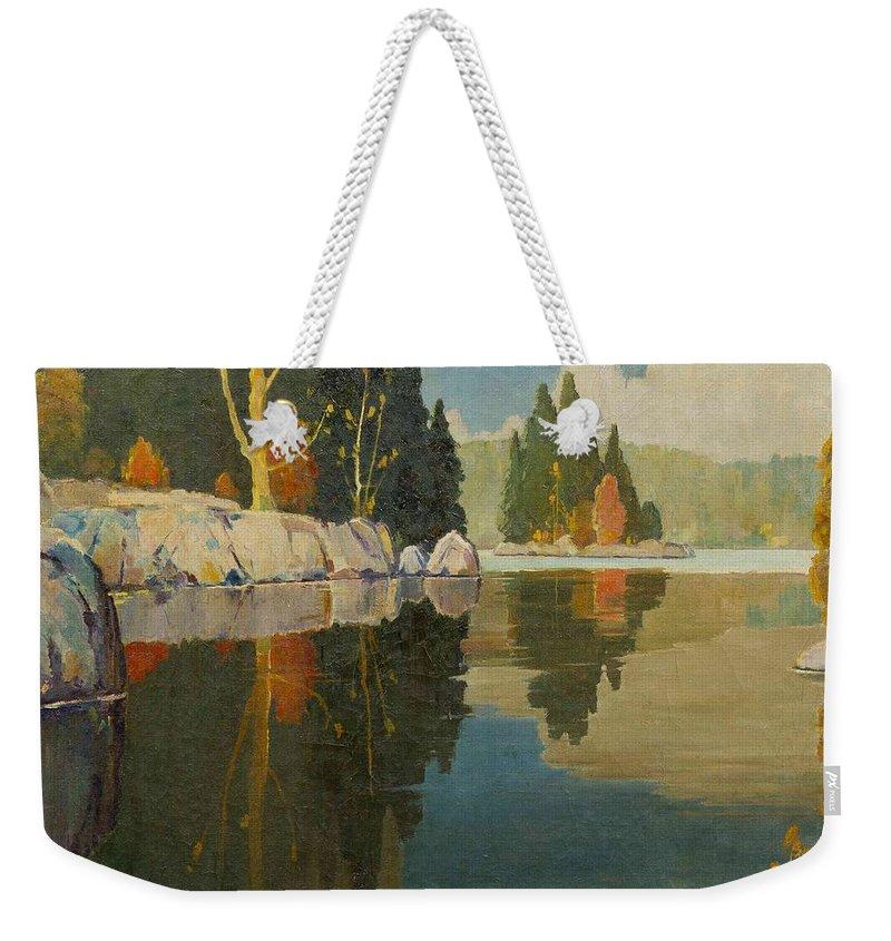 John Adams Spelman(american Weekender Tote Bag featuring the painting Reflective Lake by John Adams