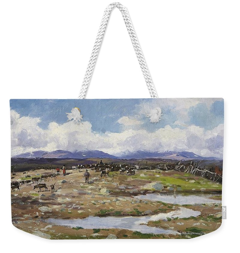 Johan Tirén 1853-1911 Reindeer On The Mountain Weekender Tote Bag featuring the painting Reindeer On The Mountain by MotionAge Designs