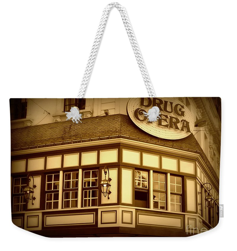 Drug Opera Weekender Tote Bag featuring the photograph Restaurant Sign In Brussels by Carol Groenen