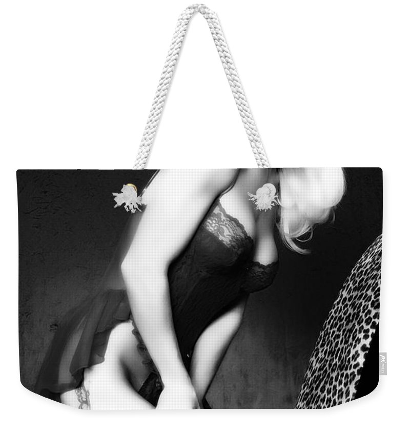 Clay Weekender Tote Bag featuring the pyrography Retro Pinup by Clayton Bruster