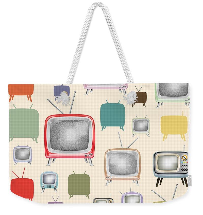Analog Weekender Tote Bag featuring the painting retro TV pattern by Setsiri Silapasuwanchai