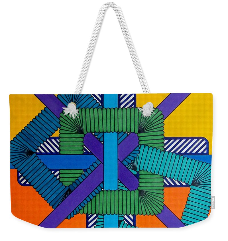 Orange & Yellow Abstract Weekender Tote Bag featuring the drawing Rfb0600 by Robert F Battles