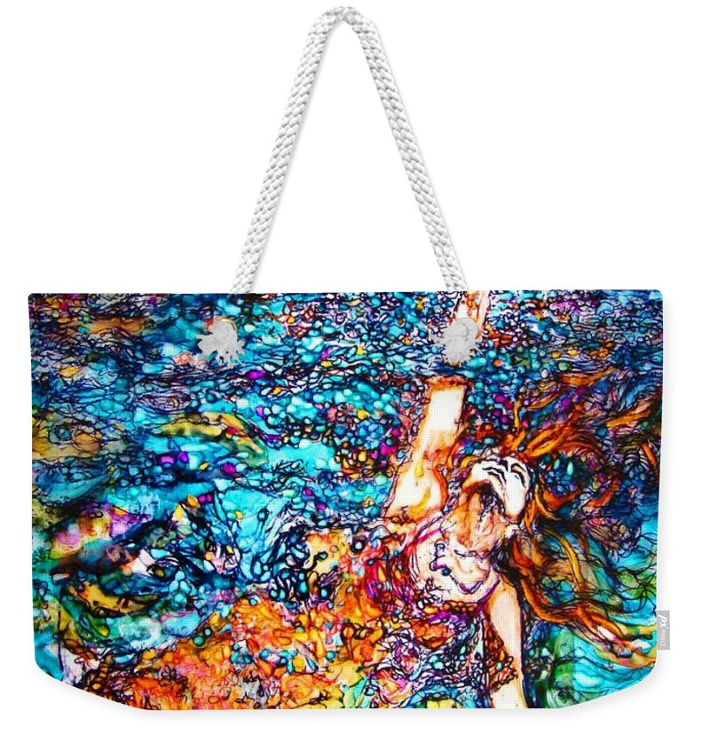 Weekender Tote Bag featuring the mixed media Rising To The Surface Like A Last Breath Last Scream by Sarah G ART