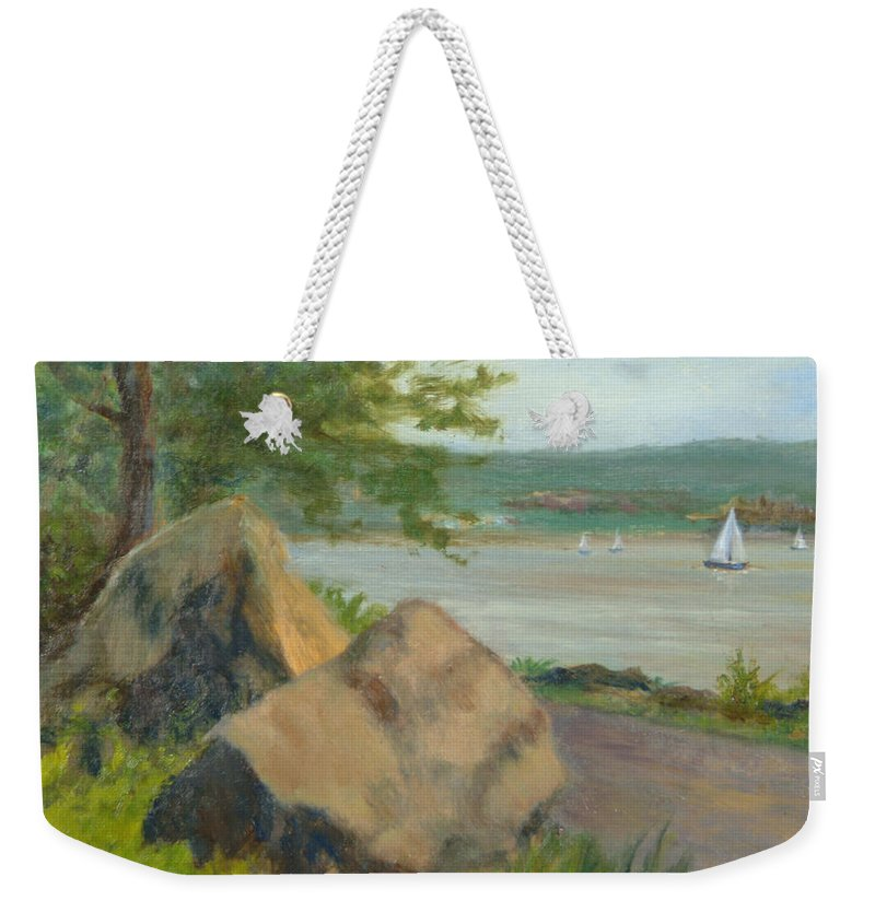 Oil Landscape Weekender Tote Bag featuring the painting Rocks Along The Nyack Trail by Phyllis Tarlow
