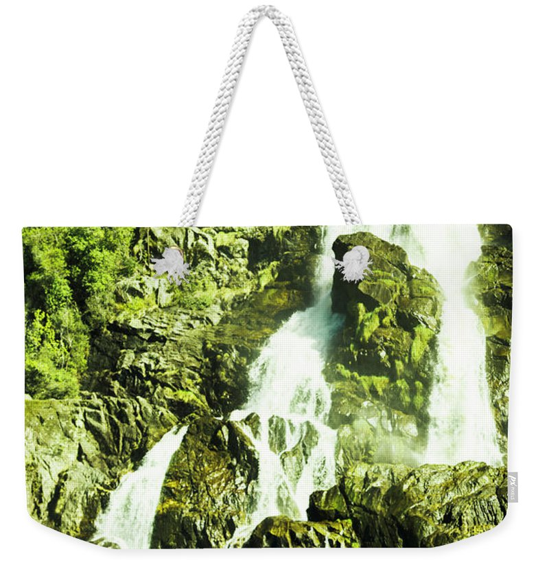 Water Weekender Tote Bag featuring the photograph Rocky mountain waterfall by Jorgo Photography - Wall Art Gallery