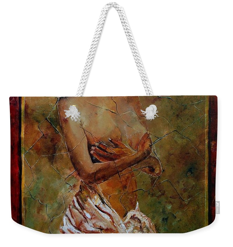 Nude Weekender Tote Bag featuring the painting Roman Nude 67 by Pol Ledent
