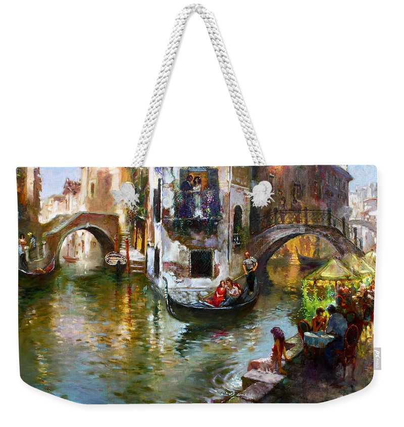 Romance In Venice Weekender Tote Bag featuring the painting Romance In Venice by Ylli Haruni
