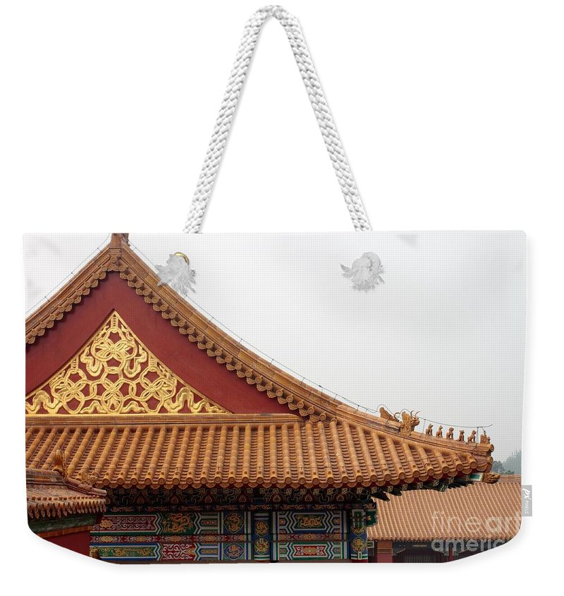 China Weekender Tote Bag featuring the photograph Roof Forbidden City Beijing China by Thomas Marchessault