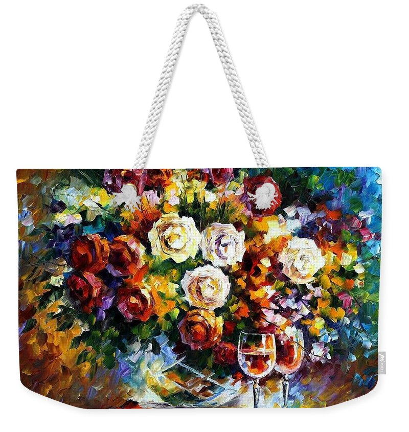 Afremov Weekender Tote Bag featuring the painting Roses And Wine by Leonid Afremov