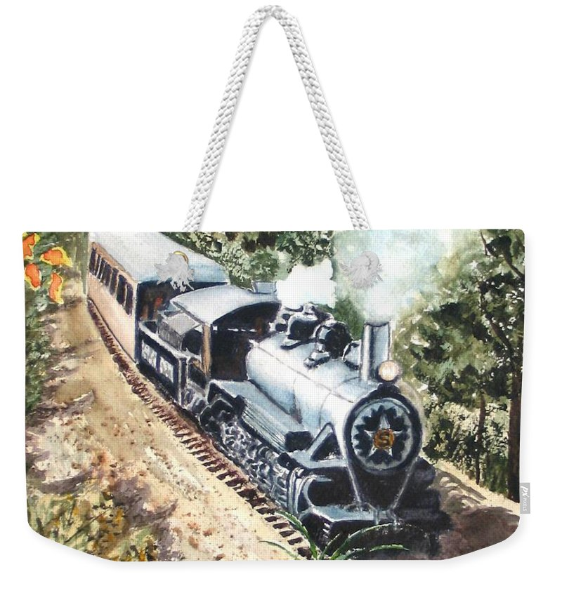 Trains Weekender Tote Bag featuring the painting Round the Bend by Karen Ilari