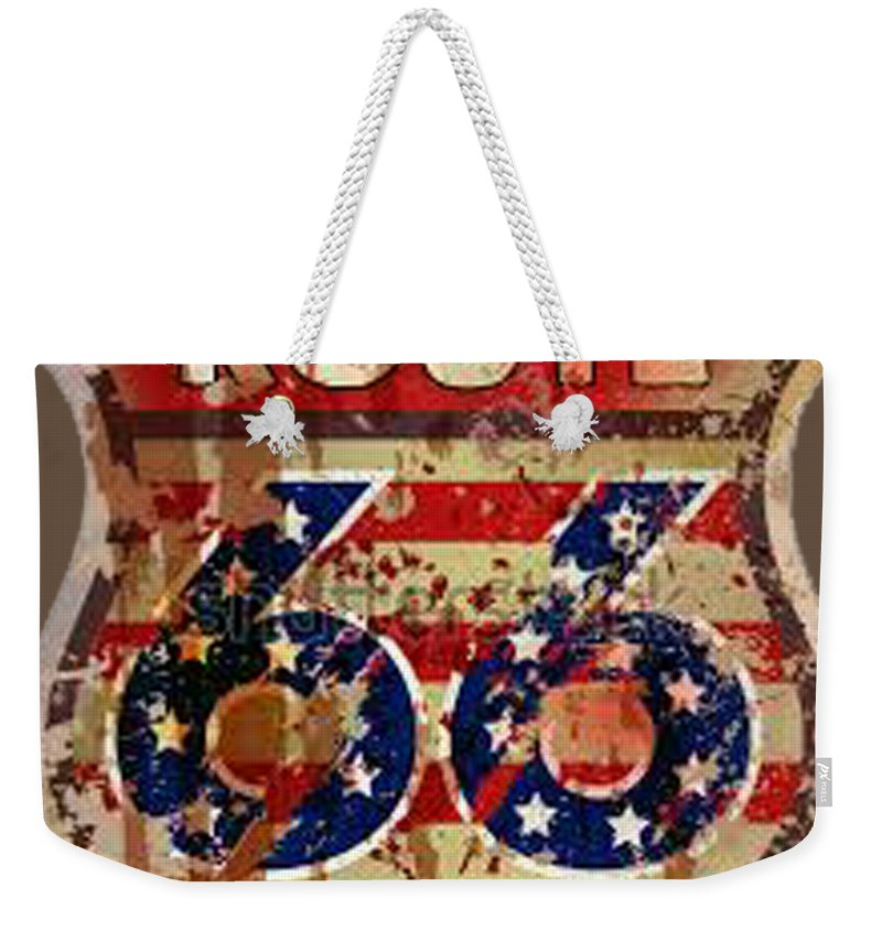 Weekender Tote Bag featuring the painting Route 66 T-shirt by Herb Strobino