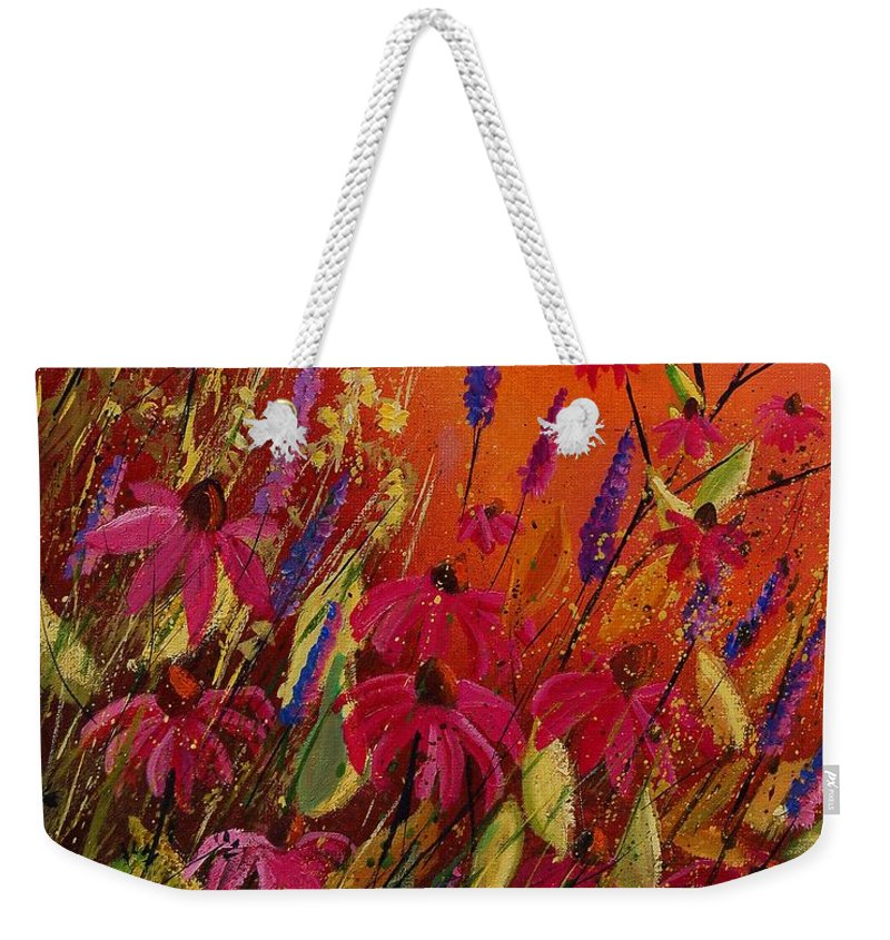 Flowers Weekender Tote Bag featuring the painting Rudbeckias And Lyatris by Pol Ledent