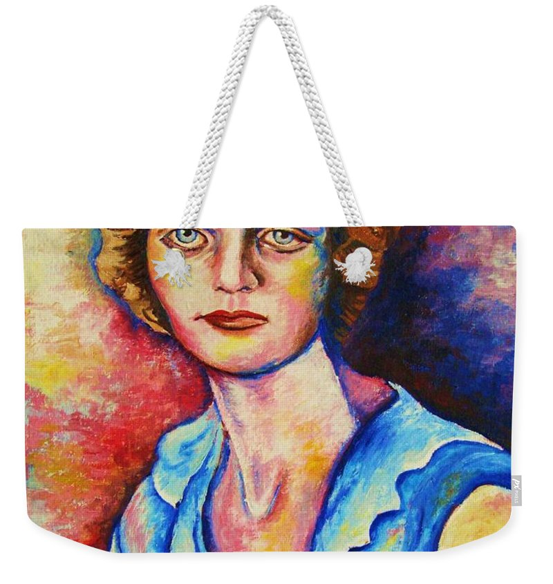 Portraits Weekender Tote Bag featuring the painting Sad Eyes by Carole Spandau