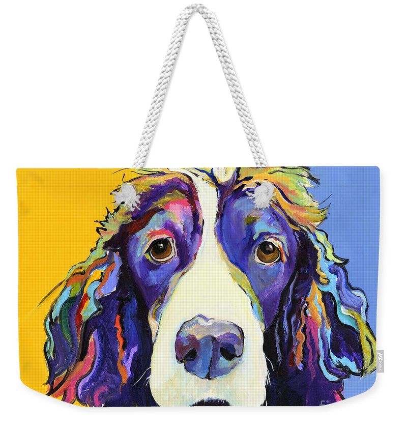 Blue Weekender Tote Bag featuring the painting Sadie by Pat Saunders-White