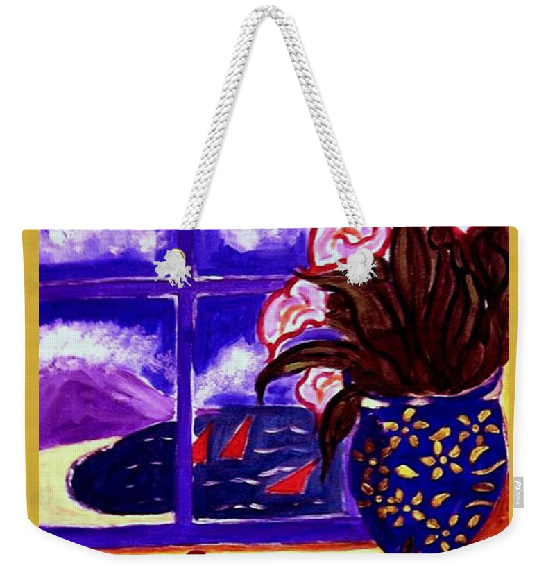 Contemporary Weekender Tote Bag featuring the painting Sailing By by Rusty Gladdish