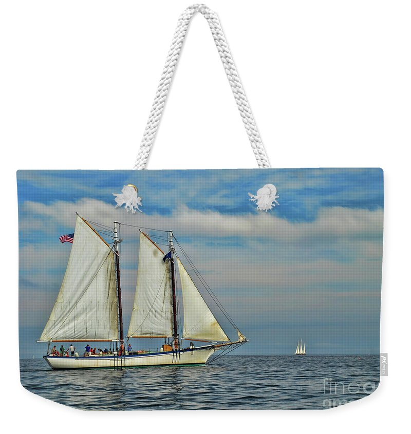 Sailing The Open Sea Weekender Tote Bag featuring the photograph Sailing The Open Seas by Allen Beatty