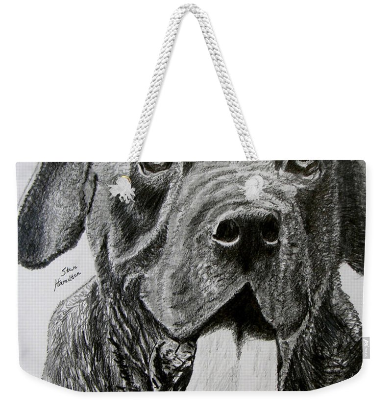Dog Portrait Weekender Tote Bag featuring the drawing Sampson by Stan Hamilton
