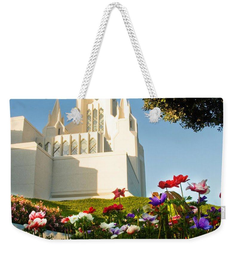 Lds Temple Photography Weekender Tote Bag featuring the photograph San Diego Flowers by La Rae Roberts
