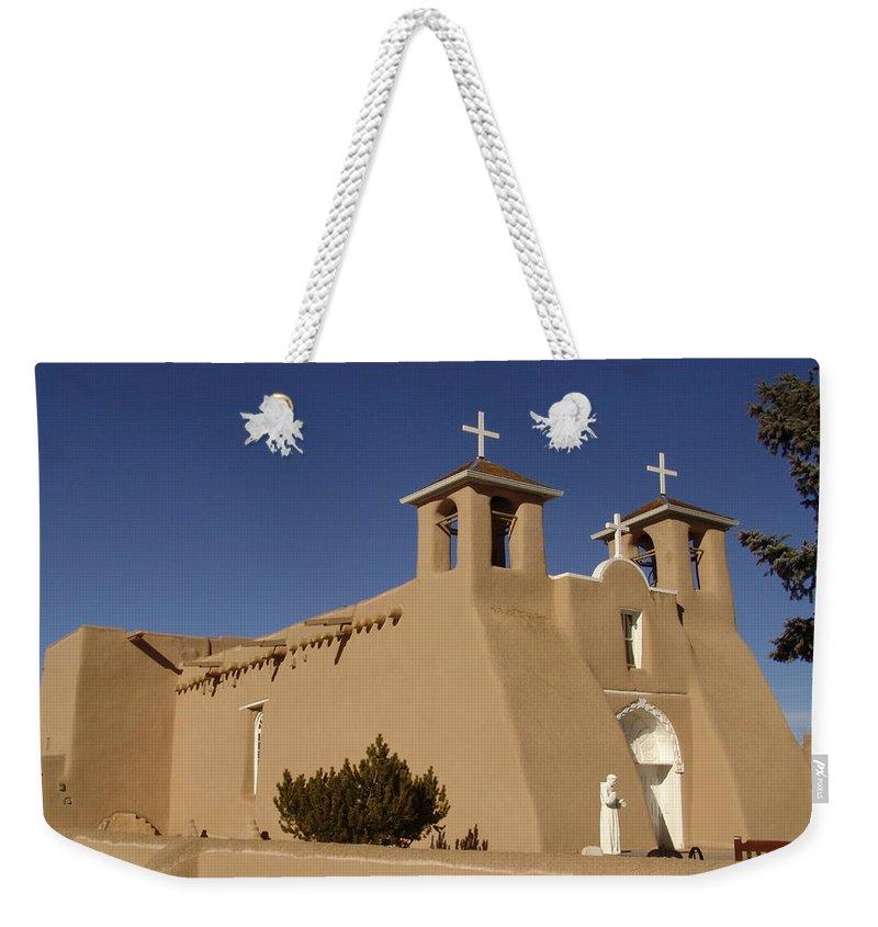 Church Weekender Tote Bag featuring the photograph San Francisco De Asis Mission Church by Carol Milisen