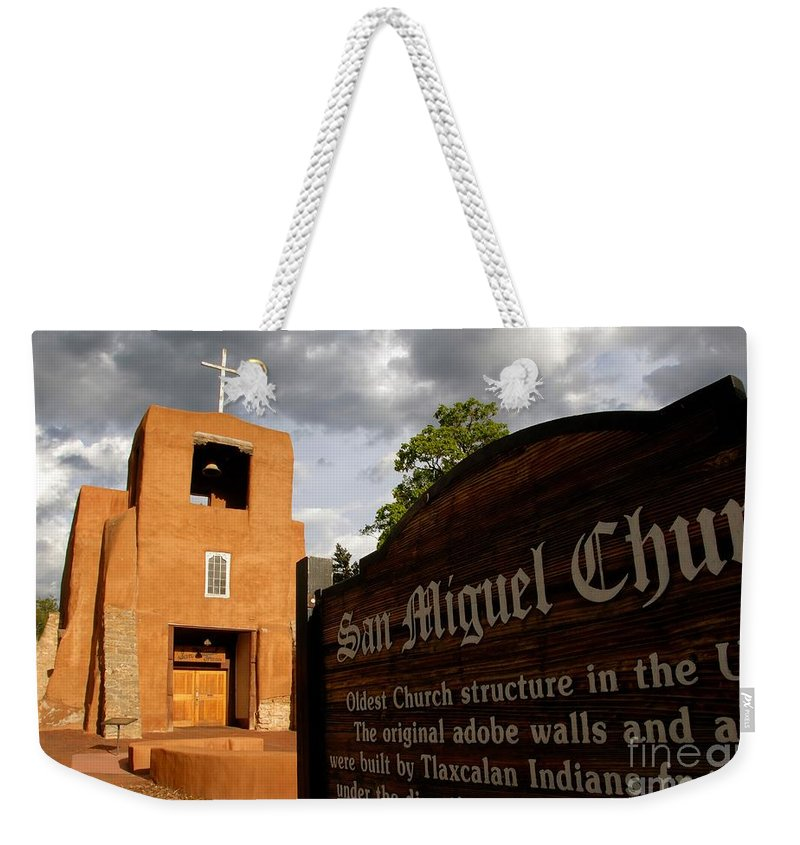 San Miguel Mission Church New Mexico Weekender Tote Bag featuring the photograph San Miguel Mission Church by David Lee Thompson