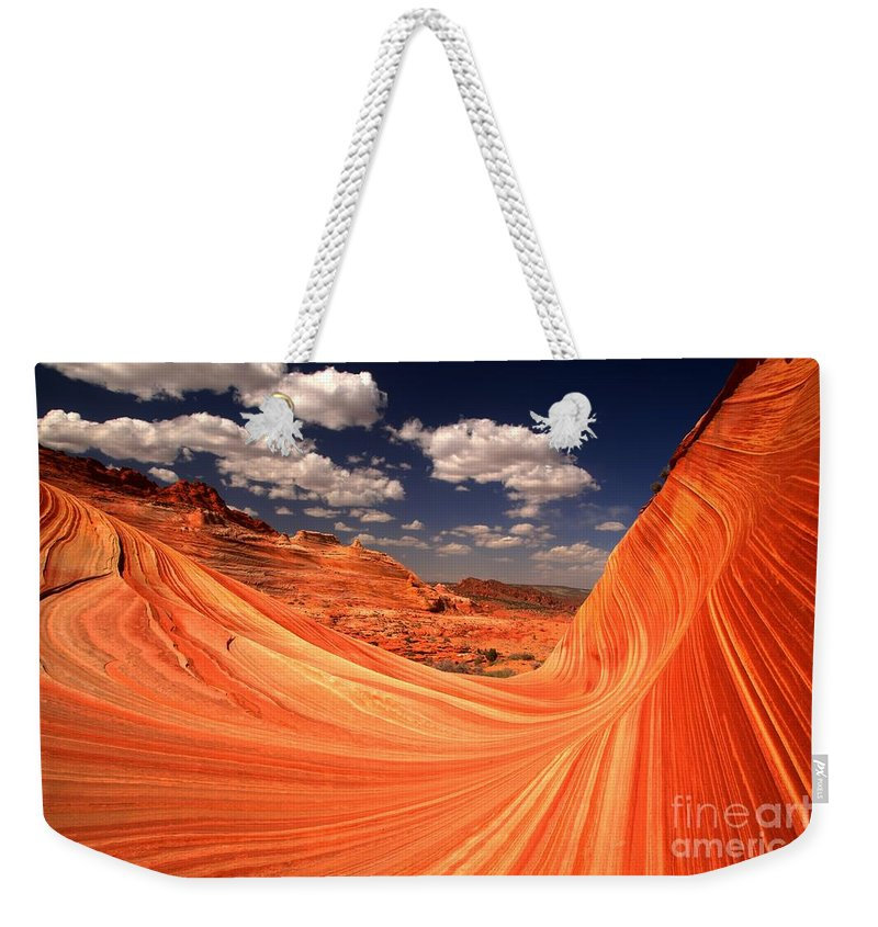 Weekender Tote Bag featuring the photograph Sandstone Wave Curl by Adam Jewell
