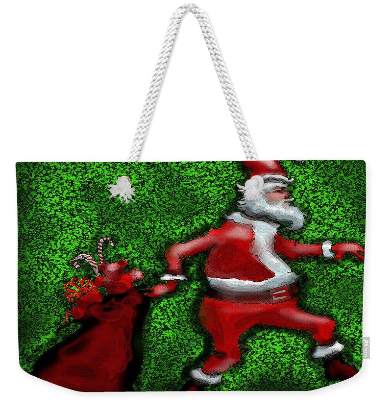 Santa Weekender Tote Bag featuring the greeting card Santa Claus by Kevin Middleton