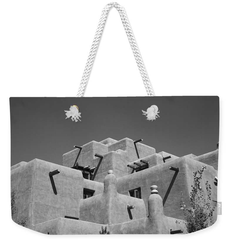 66 Weekender Tote Bag featuring the photograph Santa Fe - Adobe Building by Frank Romeo