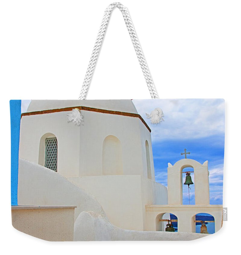 Greece Weekender Tote Bag featuring the photograph Santorini Church Dome by Rich Walter