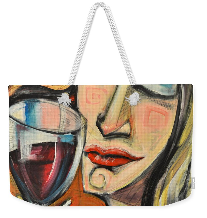 Wine Weekender Tote Bag featuring the painting Savoring The First Sip by Tim Nyberg