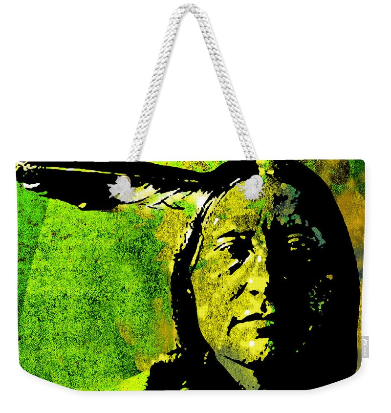 Native American Weekender Tote Bag featuring the painting Scabby Bull by Paul Sachtleben