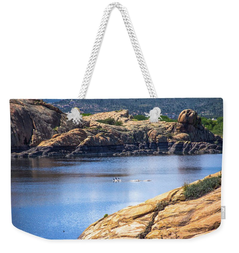 Landscape Weekender Tote Bag featuring the photograph Scenic Willow Lake by Amy Sorvillo
