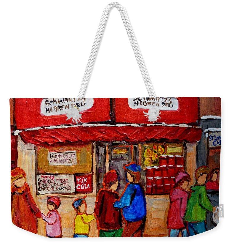 Schwartzs Hebrew Deli Weekender Tote Bag featuring the painting Schwartz's Hebrew Deli by Carole Spandau